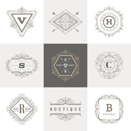 luxury template: Monogram template with flourishes calligraphic elegant ornament elements. Identity design with letter for cafe, shop, store, restaurant, boutique, hotel, heraldic, fashion and etc.