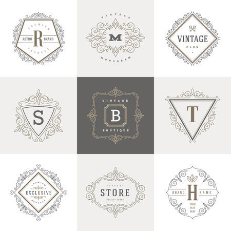 filigree: Monogram template with flourishes calligraphic elegant ornament elements. Identity design with letter for cafe, shop, store, restaurant, boutique, hotel, heraldic, fashion and etc.