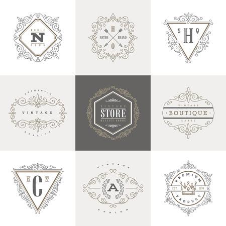 포도 수확: 스와시와 모노그램 템플릿은 우아한 장식 요소를 붓글씨. 카페, 상점, 상점, 레스토랑, 부티크, 호텔, 령, 패션 등 문자 아이덴티티 디자인