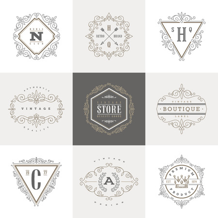 crest: Monogram template with flourishes calligraphic elegant ornament elements. Identity design with letter for cafe, shop, store, restaurant, boutique, hotel, heraldic, fashion and etc.