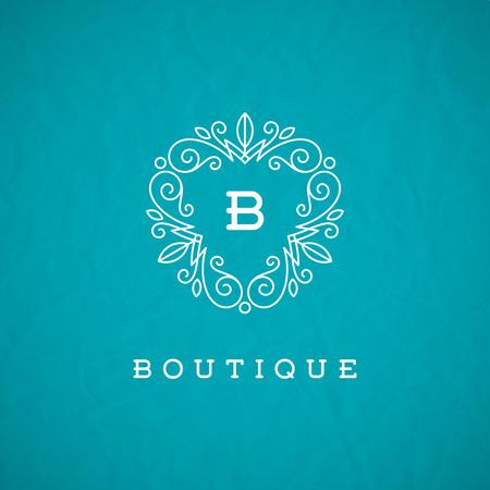 Monogram template met bloeit kalligrafische elegante ornament elementen. Identity design met brief voor cafe, winkel, winkel, restaurant, boutique, hotel, heraldisch, mode en etc. Stock Illustratie