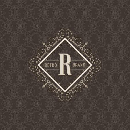 Monogram logo template with flourishes calligraphic elegant ornament elements. Identity design for boutique, cafe, hotel, heraldic, store, shop, restaurant, fashion and etc. Illustration