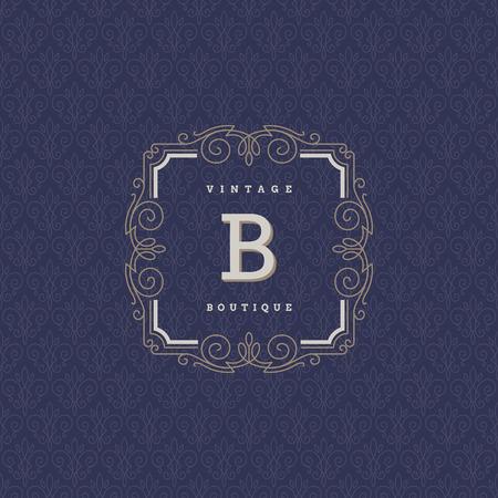 boutique hotel: Monograma plantilla de logotipo con florituras elementos caligr�ficos elegantes ornamento. Dise�o de identidad para hotel boutique, tienda, cafeter�a, tienda, restaurante, her�ldica, moda, etc