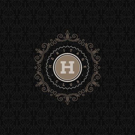 モノグラムのロゴのテンプレートと盛ん書道エレガントな装飾の要素であります。アイデンティティ デザイン ストア、ショップ、レストラン、ブテ