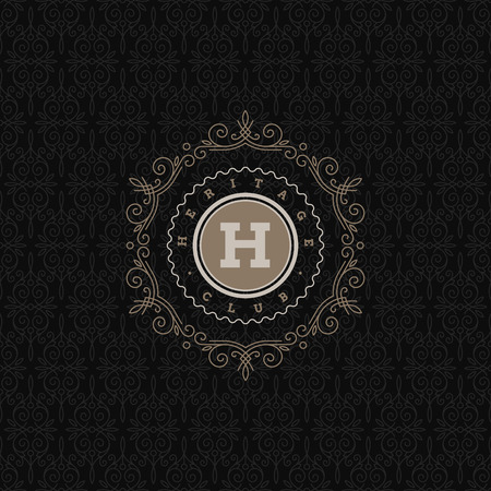 Monogram logo template with flourishes calligraphic elegant ornament elements. Identity design for store, shop, restaurant, boutique, cafe, hotel, heraldic, fashion and etc.