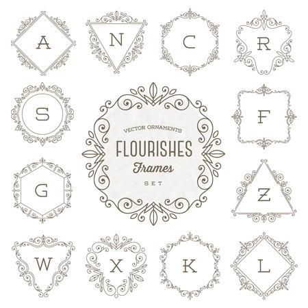 Set of monogram logo template with flourishes calligraphic elegant ornament frames - Vector illustration