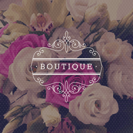 boutiques: Boutique logo template with flourishes calligraphic elegant ornament frame on a flowers background - vector illustration Illustration