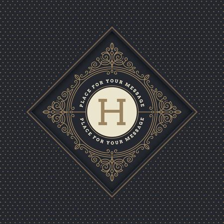 grabado antiguo: Monograma plantilla de logotipo con florituras elementos caligráficos elegantes ornamento. Diseño de identidad con la carta de cafetería, tienda, restaurante, boutique, hotel, heráldica, moda, etc