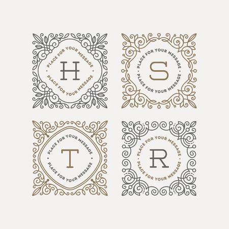 活気づくカリグラフィのエレガントな飾りフレームを持つモノグラムのロゴのテンプレートのセットです。カフェ、ショップ、ストア、レストラン  イラスト・ベクター素材