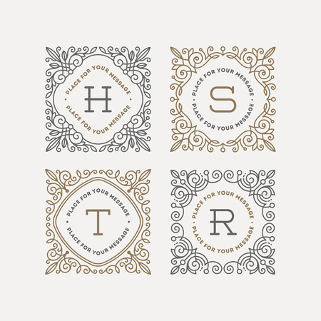 lineas decorativas: Conjunto de monograma logotipo de la plantilla con flourishes caligráficos elegantes marcos Adorno. Diseño de identidad con la carta de cafetería, tienda, restaurante, boutique, hotel, heráldica, moda, etc