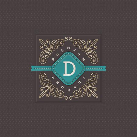 boutique hotel: Monograma plantilla de logotipo con florituras elementos caligráficos elegantes ornamento. Diseño de identidad con la carta de cafetería, tienda, restaurante, boutique, hotel, heráldica, moda, etc