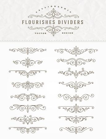 Set of flourishes calligraphic elegant ornament dividers - vector illustration Vectores