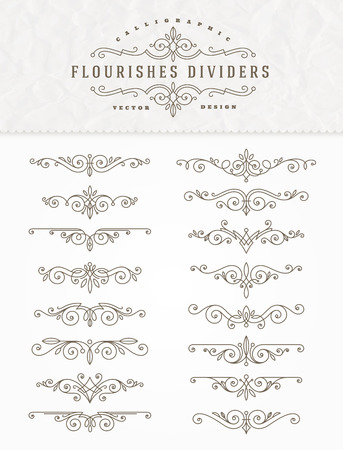 Set of flourishes calligraphic elegant ornament dividers - vector illustration Ilustrace