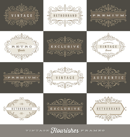 flourish: Set of vintage logo template with flourishes calligraphic elegant ornament frames - Vector illustration