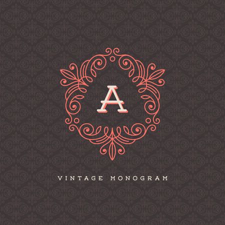 Vector vintage monogram logo template - flourishes calligraphic frame with letter on a ornamental pattern background Vector