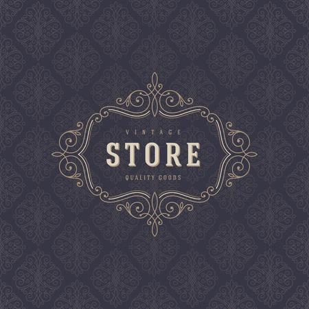 活気づくカリグラフィのエレガントな飾り要素とロゴのテンプレート。店やカフェ、ショップ、レストラン、ブティック、ファッションなどのアイ  イラスト・ベクター素材