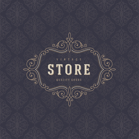 royal wedding: Logo template with flourishes calligraphic elegant ornament elements. Identity design for store or cafe, shop, restaurant, boutique, fashion and etc. Illustration