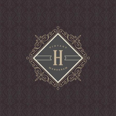 boutique hotel: Monograma plantilla de logotipo con florituras elementos caligr�ficos elegantes ornamento. Dise�o de identidad para el restaurante, hotel boutique, tienda, cafeter�a, tienda, her�ldica, moda, etc Vectores