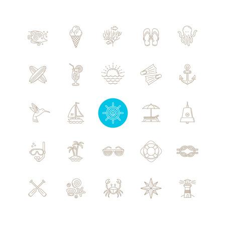 Lijntekening vector icon set - Zomer vakantie, vakantie en reizen emblemen tekens en symbolen