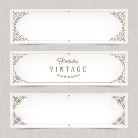 Paper white banners with flourishes calligraphic elegant ornamental frames - vector illustration