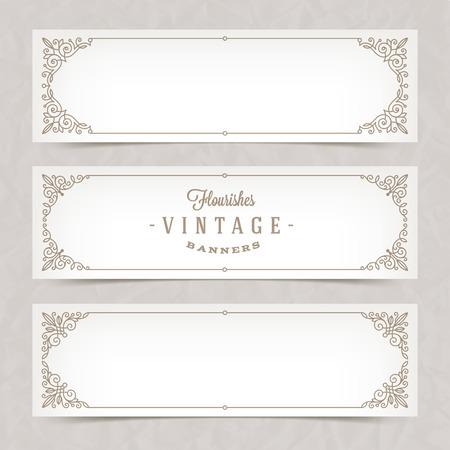 Papieren witte banners met bloeit kalligrafische elegante sierlijsten - vector illustratie
