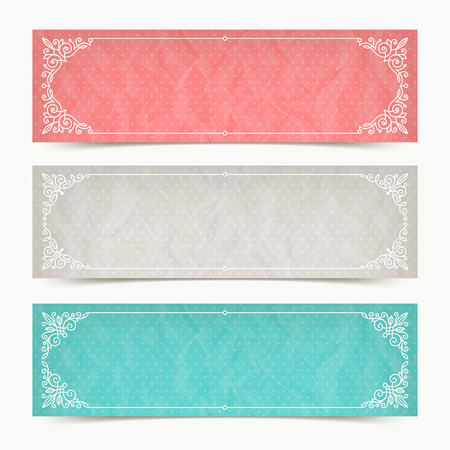 Paper color banners with flourishes calligraphic elegant ornamental frames - vector illustration Vectores