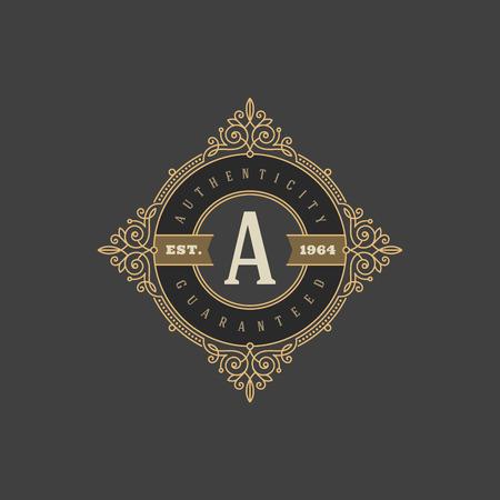 モノグラムのロゴのテンプレートと盛ん書道エレガントな装飾の要素であります。カフェ、ショップ、ストア、レストラン、ブティック、ホテル、  イラスト・ベクター素材