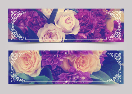 ornamental: Flowers banners with flourishes calligraphic elegant ornamental frames - vector illustration