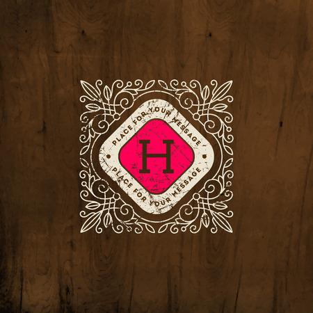 boutique hotel: Plantilla de logotipo del monograma del vintage con flourishes caligr�ficos elegante elementos ornamento. Dise�o de identidad con la carta de cafeter�a, tienda, restaurante, boutique, hotel, her�ldica, moda, etc