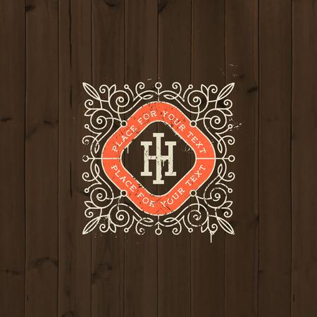 boutique hotel: logotipo de la plantilla del monograma de la vendimia con adornos elementos caligr�ficos del ornamento elegantes en un fondo de madera vieja. Dise�o de identidad con la carta de cafeter�a, tienda, restaurante, boutique, hotel, her�ldica, moda, etc