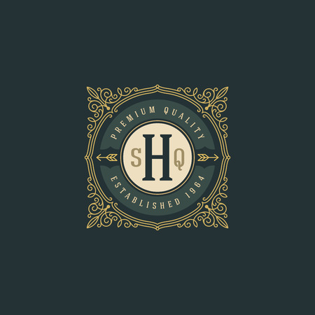 boutique hotel: Plantilla de logotipo del monograma del vintage con flourishes caligráficos elegante elementos ornamento. Diseño de identidad con la carta de cafetería, tienda, restaurante, boutique, hotel, heráldica, moda, etc