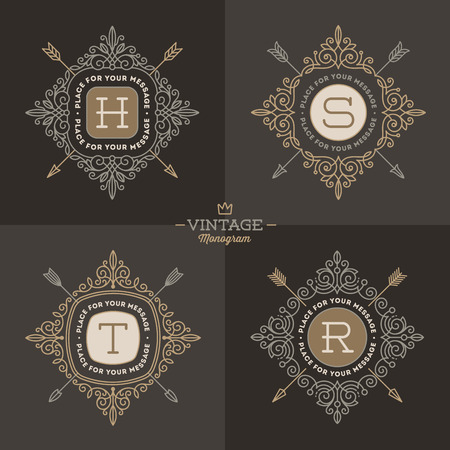 boutique hotel: Set of monogram  template with flourishes calligraphic elegant ornament elements. Identity design with letter for cafe, shop, store, restaurant, boutique, hotel, heraldic, fashion and etc.