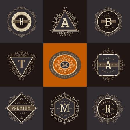 cartas antiguas: Conjunto de la plantilla del monograma con flourishes caligráficos elegante elementos ornamento. Diseño de identidad con la carta de cafetería, tienda, restaurante, boutique, hotel, heráldica, moda, etc