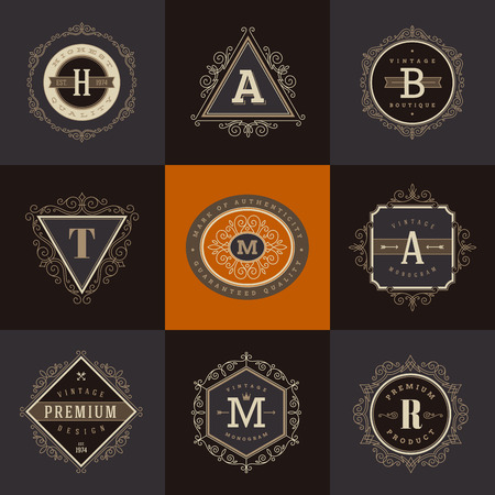 old letters: Set of monogram  template with flourishes calligraphic elegant ornament elements. Identity design with letter for cafe, shop, store, restaurant, boutique, hotel, heraldic, fashion and etc.