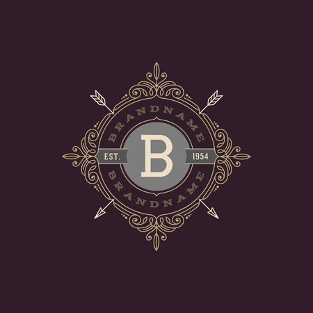 boutique hotel: Monogram  template with flourishes calligraphic elegant ornament elements. Identity design with letter for cafe, shop, store, restaurant, boutique, hotel, heraldic, fashion and etc. Vectores