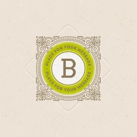 boutique hotel: Plantilla del monograma con florituras elementos caligráficos elegantes ornamento. Diseño de identidad con la carta de cafetería, tienda, restaurante, boutique, hotel, heráldica, moda, etc