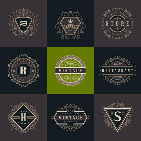 活気づくカリグラフィのエレガントな飾り要素とモノグラムのロゴのテンプレートのセットです。カフェ、ショップ、ストア、レストラン、ブティ