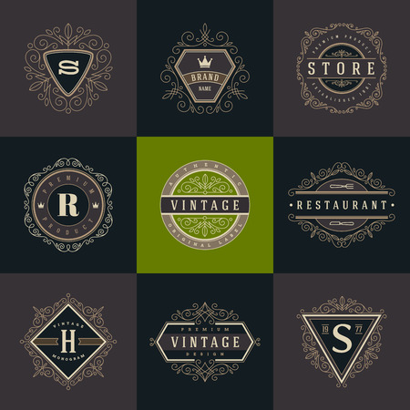boutique hotel: Conjunto de monograma logotipo de la plantilla con flourishes caligr�ficos elegante elementos ornamento. Dise�o de identidad con la carta de cafeter�a, tienda, restaurante, boutique, hotel, her�ldica, moda, etc