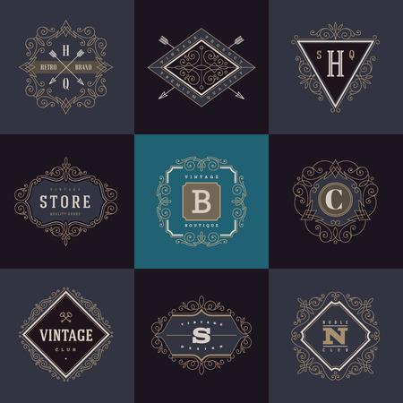 vintage: Set med monogram mall med krusidullar kalligrafiska eleganta prydnad element. Identitet med bokstav för café, butik, lager, restaurang, butik, hotell, heraldiskt, mode och etc.