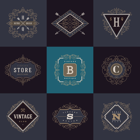 cổ điển: Thiết lập các mẫu monogram với khởi sắc thư pháp các yếu tố trang trí thanh lịch. thiết kế nhận dạng bằng chữ cái cho quán cà phê, cửa hàng, cửa hàng, nhà hàng, cửa hàng, khách sạn, huy chương, thời trang và vv