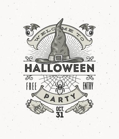ハロウィーン パーティーのためのライン アート ベクトル図
