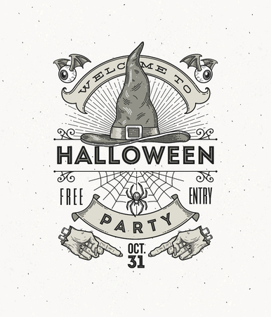 party animals: Line art vector illustration for Halloween party