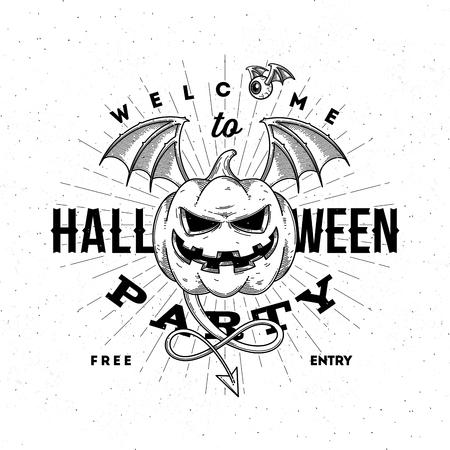 diabolic: Halloween party invitation with flying pumpkin - line art vector illustration Illustration