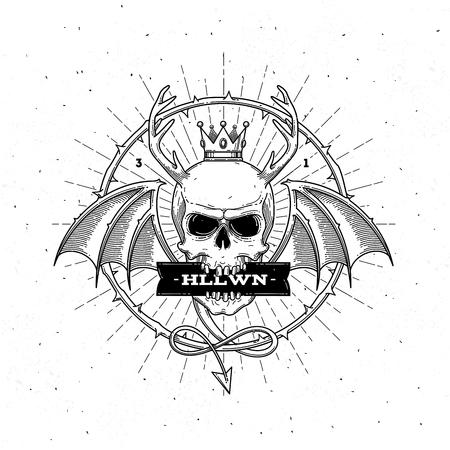 streckbilder: Horned skalle med vingar - line art halloween vektorillustration