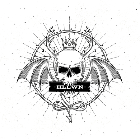 Horned skull with wings - line art halloween vector illustration Illustration