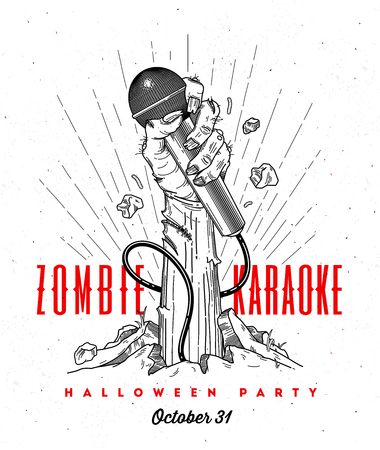 Zombie hand with microphone from ground -  line art invitation for halloween karaoke party Stock Illustratie