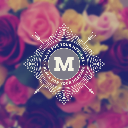 flower logo: Vintage monogram logo template with flourishes calligraphic elegant ornament elements on a blurred flowers background. Identity design with letter for cafe, shop, store, restaurant, boutique, hotel, heraldic, fashion and etc.