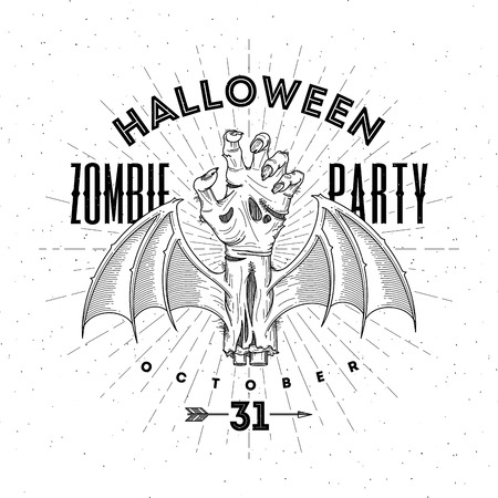 rotten: Zombie rotten hand with bat wings - halloween line art vector illustration Illustration