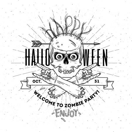 streckbilder: Halloween affisch med zombie huvud och hand - line art vektor illustration Illustration