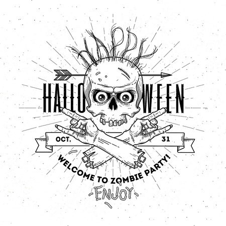 severed: Halloween poster with zombie head and hand - line art vector illustration Illustration